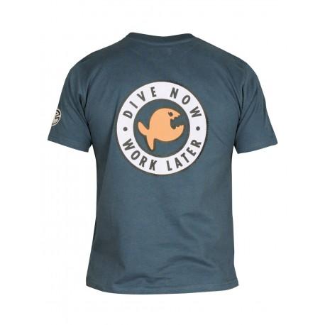 iQ T-Shirt Dive Now Work Later Dark Blue