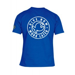 iQ T-Shirt Dive Now Work Later Blue