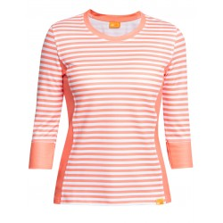 iQ UV T-Shirt Stripes Women Casual & Outdoor Coral White